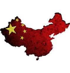 China map with flag inside vector image