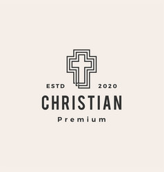 christian cross hipster vintage logo icon vector image
