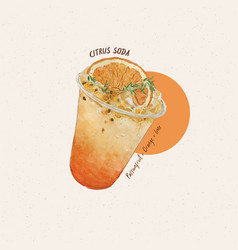 Citrus soda hand draw sketch watercolor vector