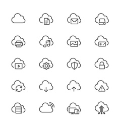 Cloud computing thin icons vector image