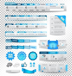 Collection of web elements menu items vector image