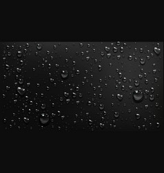Condensation water drops on black glass background vector