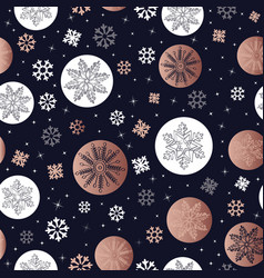 Copper christmas winter snowflake seamless pattern vector
