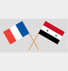 Crossed syrian arab republic and france flags vector