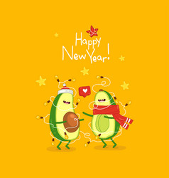 Cute avocado wish you a happy new year vector