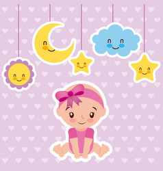 Cute baby girl sitting with cartoon cloud star and vector