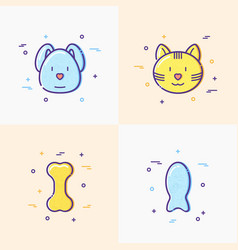 Cute dog and cat pet food bone fish line icons vector