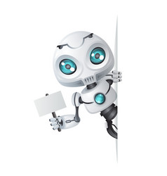 cute robot look out corner technology science vector image