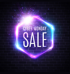 cyber monday background neon light vintage frame vector image