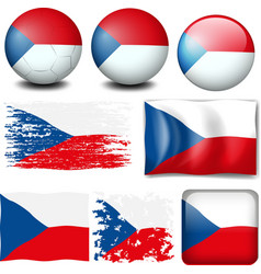 Czech Republic flag in different designs vector image