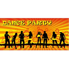 Dance party ticket yellow vector image