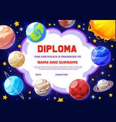 Diploma education certificate cartoon planets vector