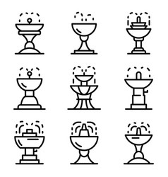 drinking fountain icons set outline style vector image