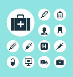 drug icons set collection of hospital chest vector image vector image