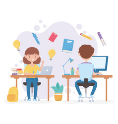 Education online students girl and boy desk with vector
