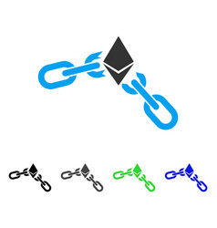 Ethereum broken chain flat icon vector