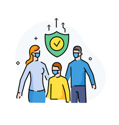 Family wearing masks virus protection quarantine vector