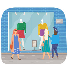female characters walking on street city vector image