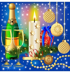Festive background with candle ball and gift vector