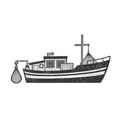fishing boat sketch vector image