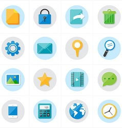 Flat Icons Mobile Icons and Internet Web Icons vector image