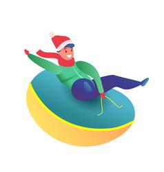 flat kid sledding at snow tube in santa hat vector image