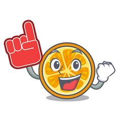 foam finger orange mascot cartoon style vector image