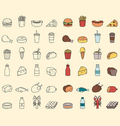 food and drink icons fast food and every day food vector image