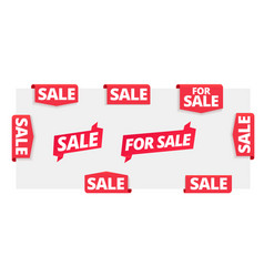 for sale page label corner ribbon banners set vector image