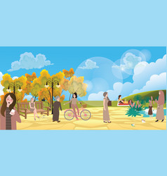 garden city park people interaction situation vector image