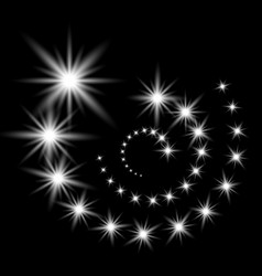 glittering flying stars white color vector image