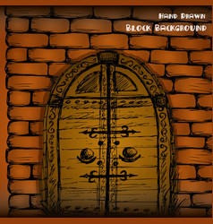 hand drawn door and brick wall vector image