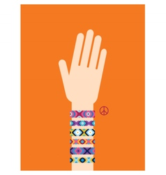 Hand with hippy friendship bracelets vector