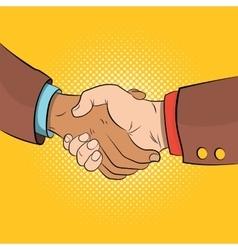 Handshake comics concept vector