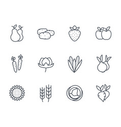 harvest farm icons set linear style vector image
