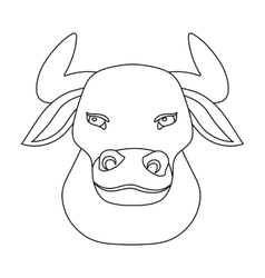 Head of bull icon in outline style isolated on vector image
