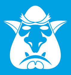 Head of troll icon white vector