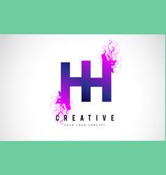 hh h h purple letter logo design with liquid vector image