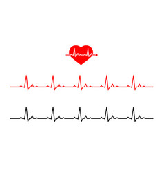 icon heart with line heartbeat normal heart rate vector image