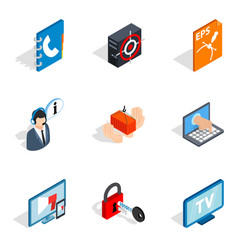 Internet project icons set isometric style vector
