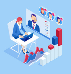 isometric business training online or business vector image