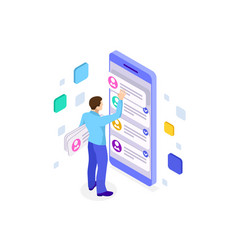 Isometric ux app development and holding vector