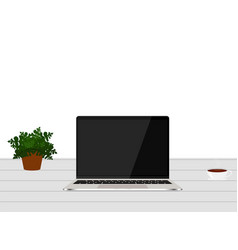 laptop white blank screen on work table front view vector image