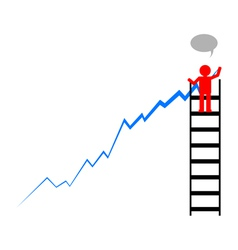 Leader draws financial profit growth chart vector image