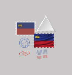 Liechtenstein flag postage stamp set isolated on vector