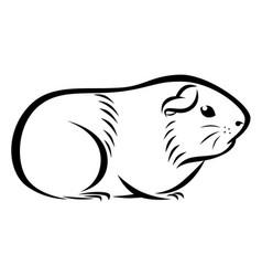 Line ink guinea pig vector