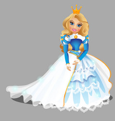 little blond princess girl in blue ball dress and vector image