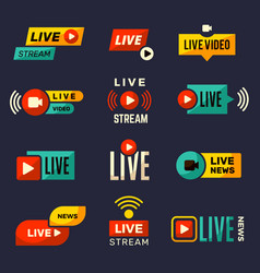 live stream icon news or movie broadcasting play vector image