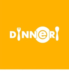 logo text dinner with plate spoon and fork vector image