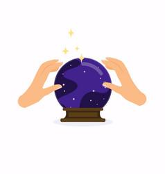 Magic crystal ball with hands flat design modern vector